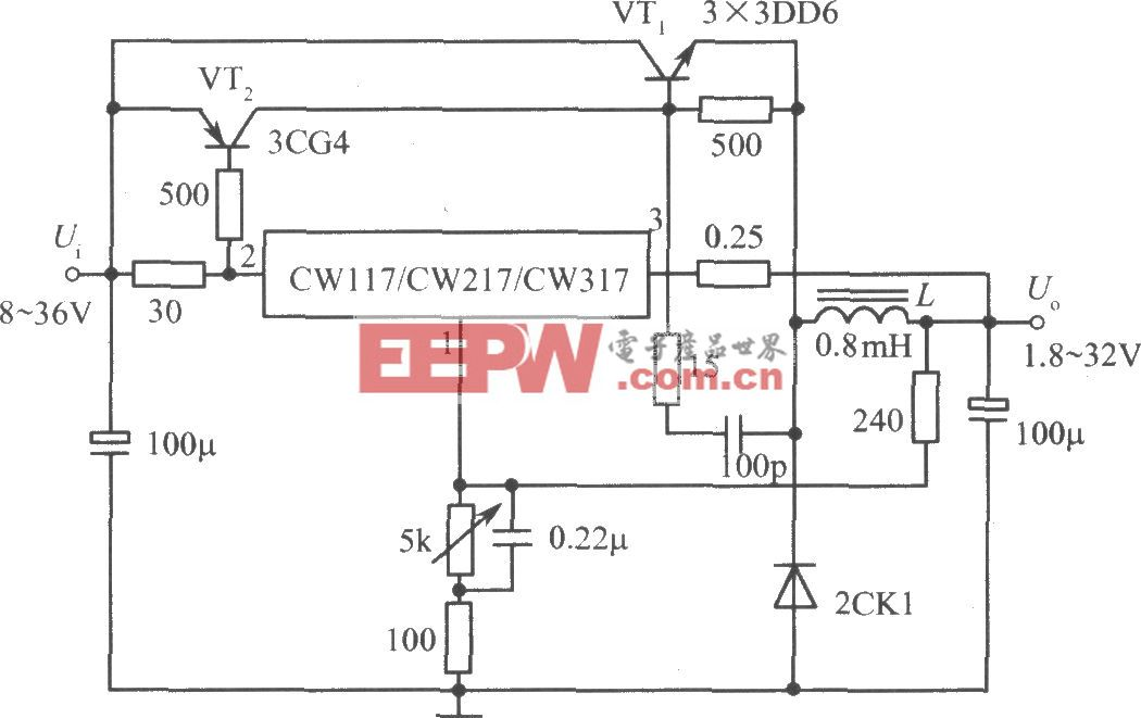 CW117/CW217/CW317构成输出电流为4A的开关式集成稳压电源