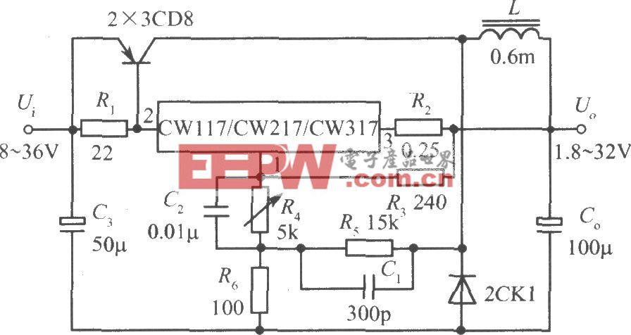 CW117/CW217/CW317构成输出电流为3A的开关式集成稳压电源