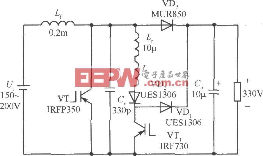 300kHz 600W ZVT-PWM boost变换器电路
