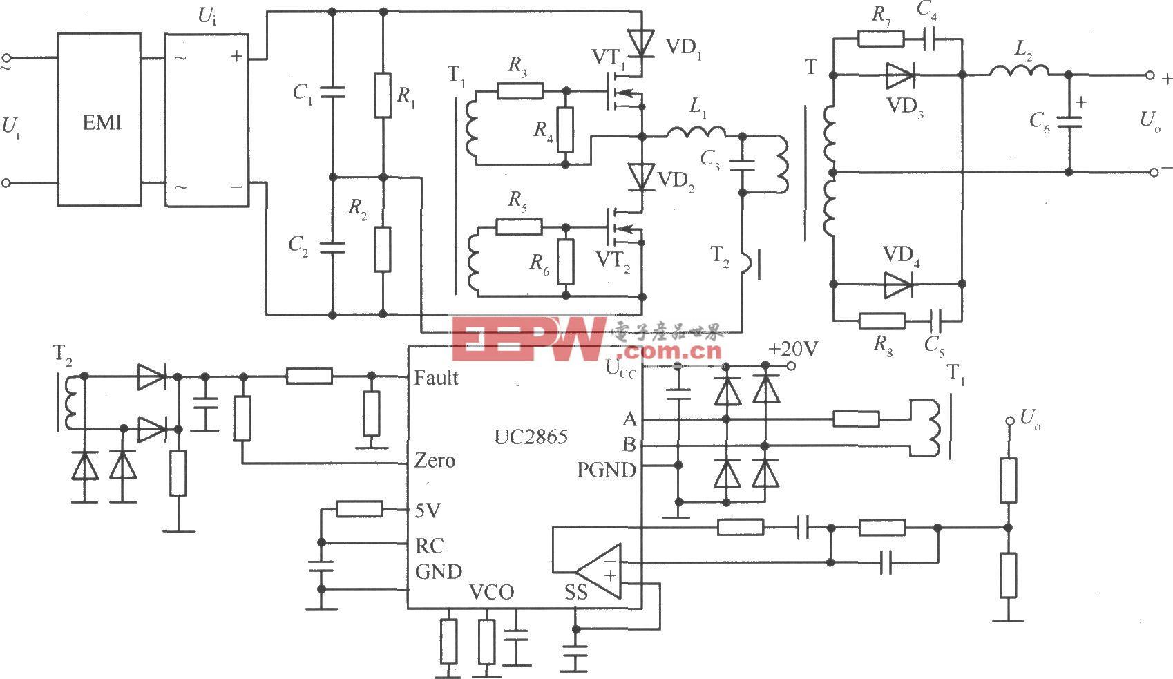 零电流转换软开关稳压电源实用电路