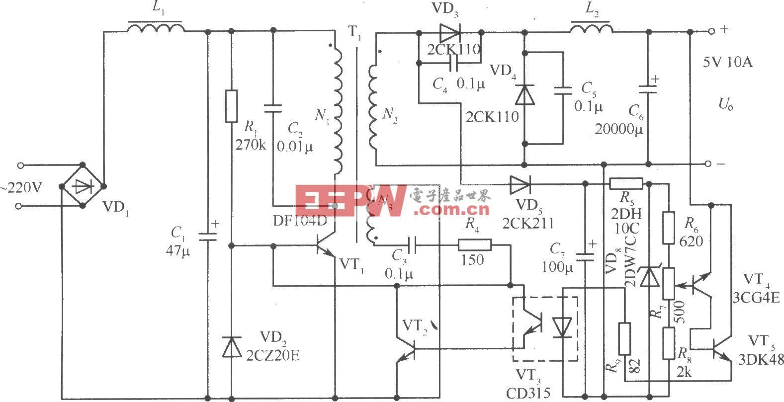 單端正激變換式開關穩壓電源實用電路