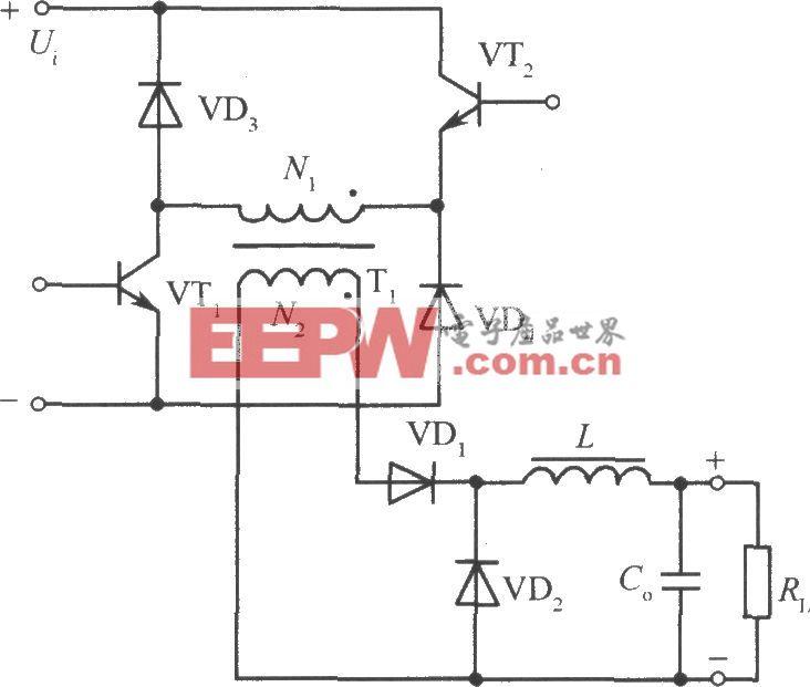 两只晶体管、二极管钳位的单端正激变换器电路