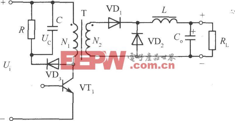 带有RC和二极管钳位电路的单端正激变换器电路