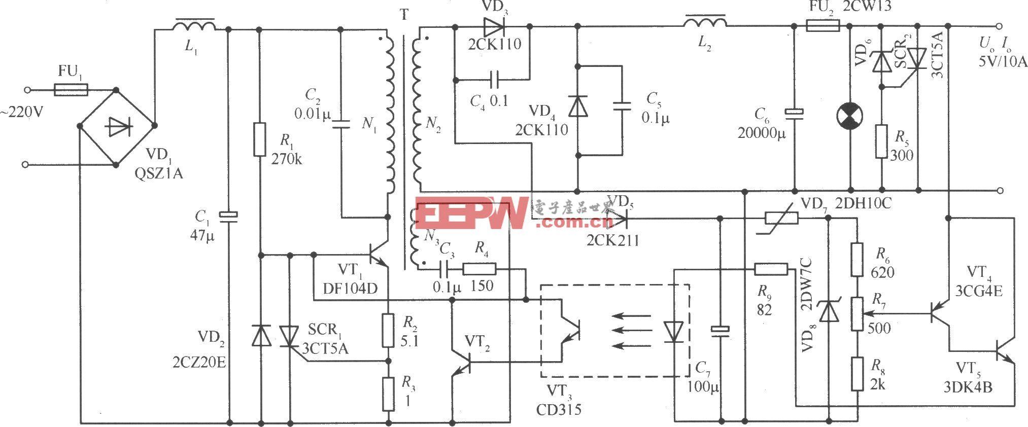 用光电耦合器隔离的正激变换式开关稳压电源