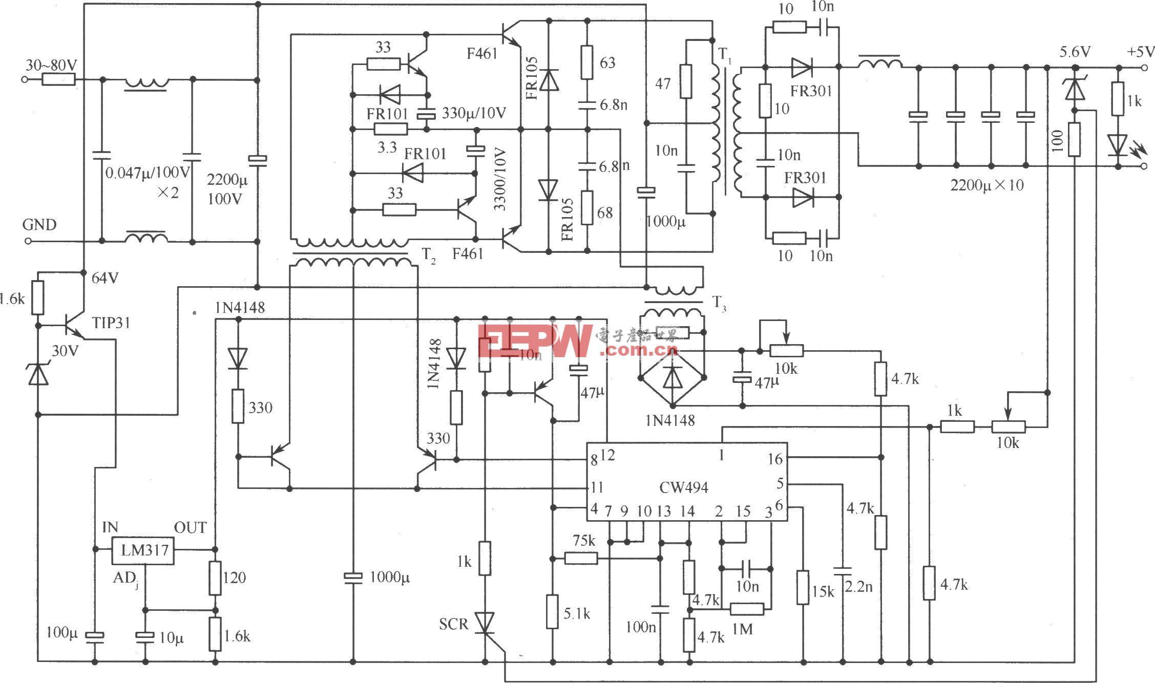 推挽式变换器式开关稳压电源实用电路