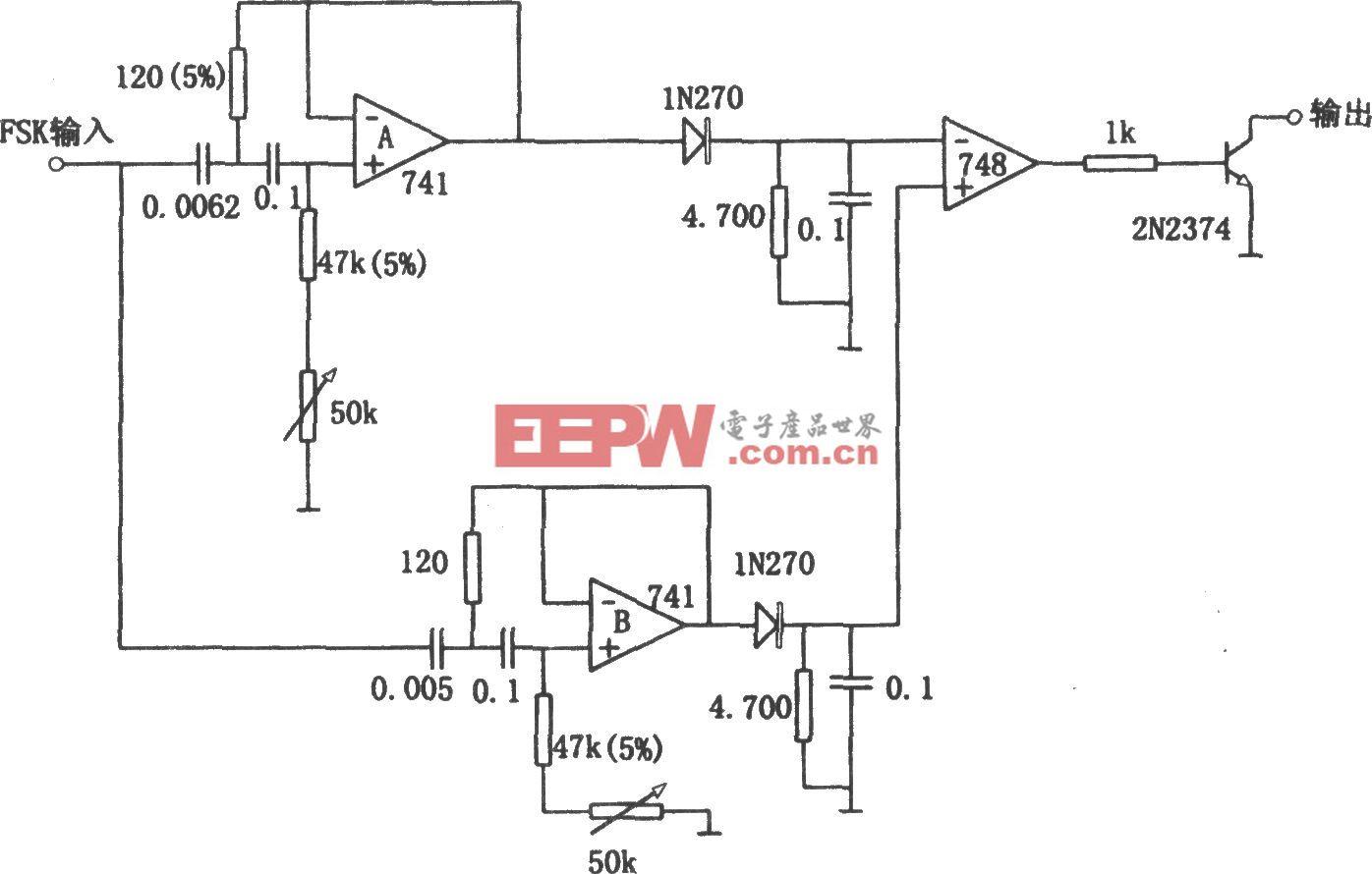 用有源滤波器构成的频移解调器(748)