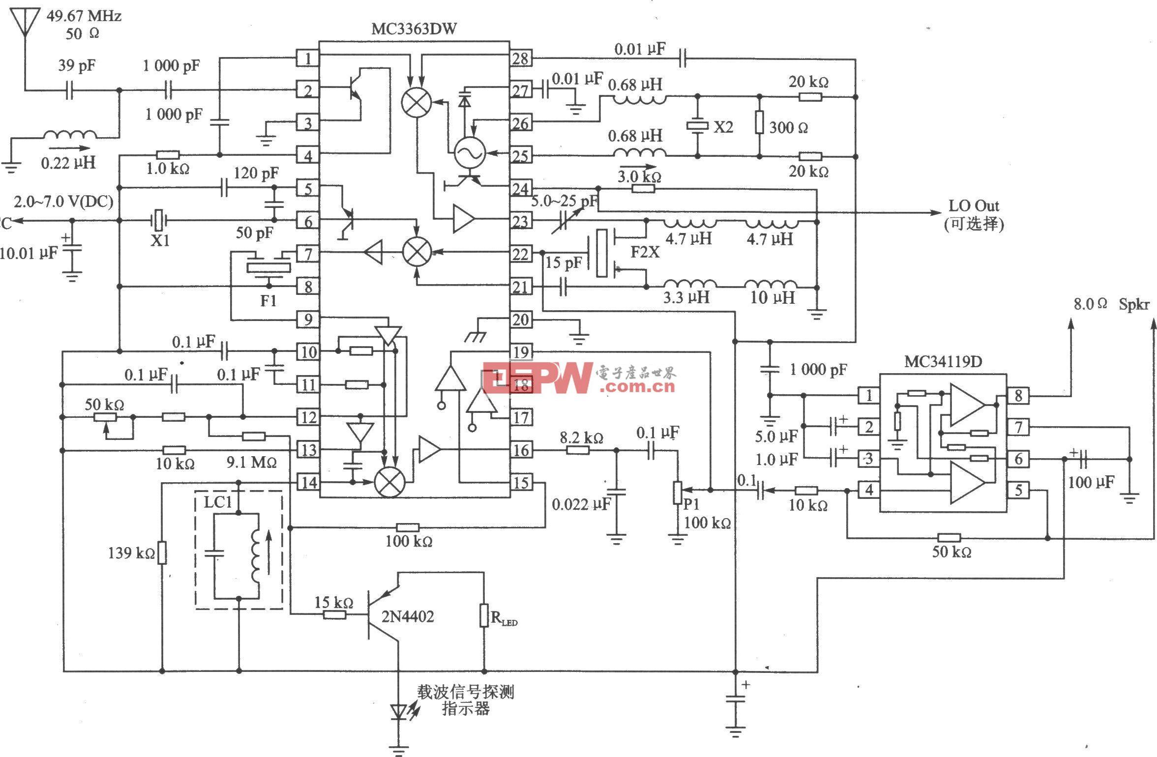 MC3363 FM 450~200 MHz接收器