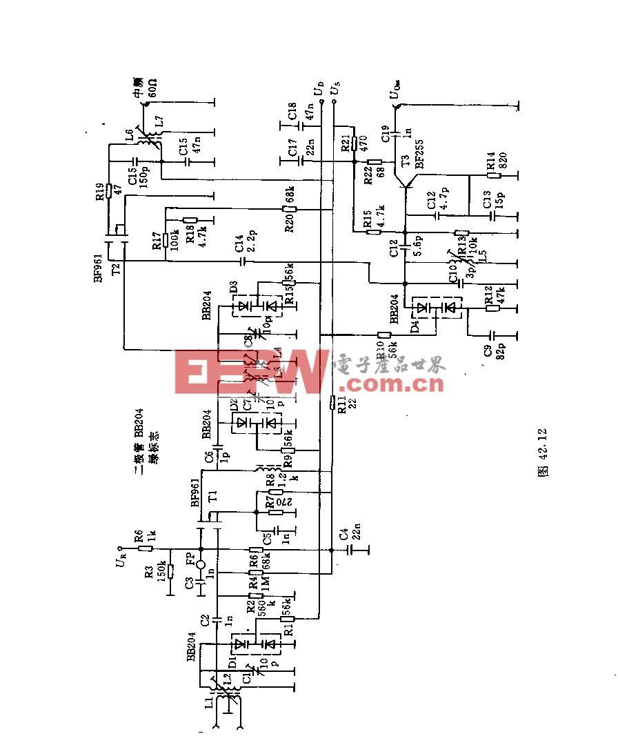 采用巧个场效应管的超短波调谐器电路