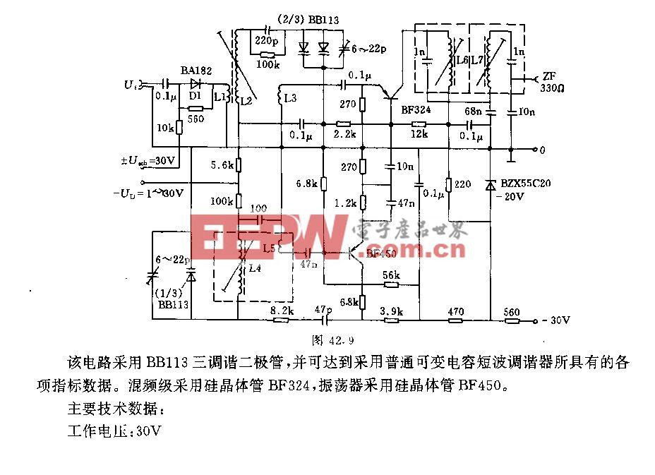 额带范围5.8一10.5MHz的短波调谐器电路