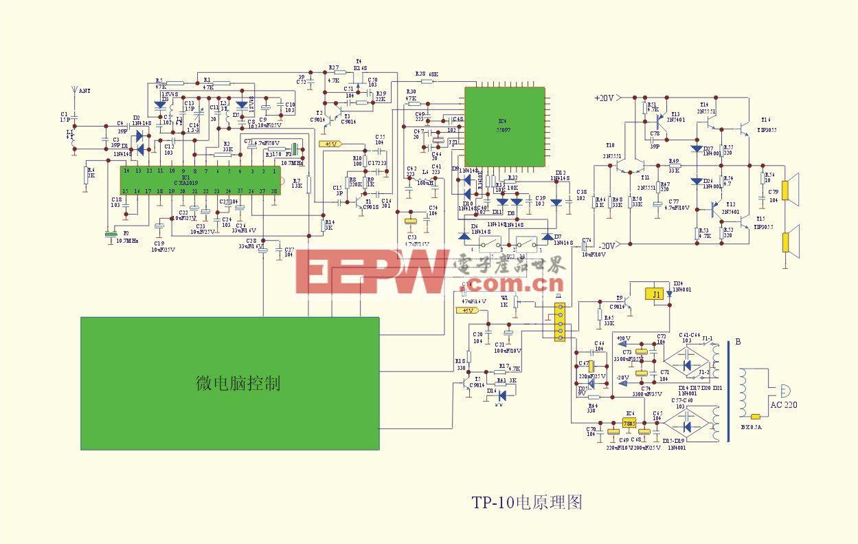 TP-10A型25W室外防雨调频音箱电路图