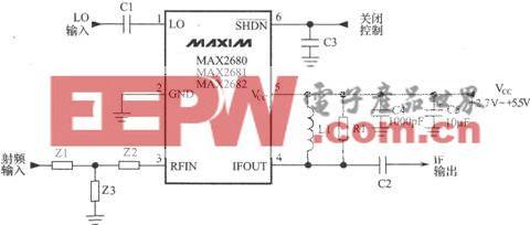使用MAX2682的GPS接收机下变频器电路