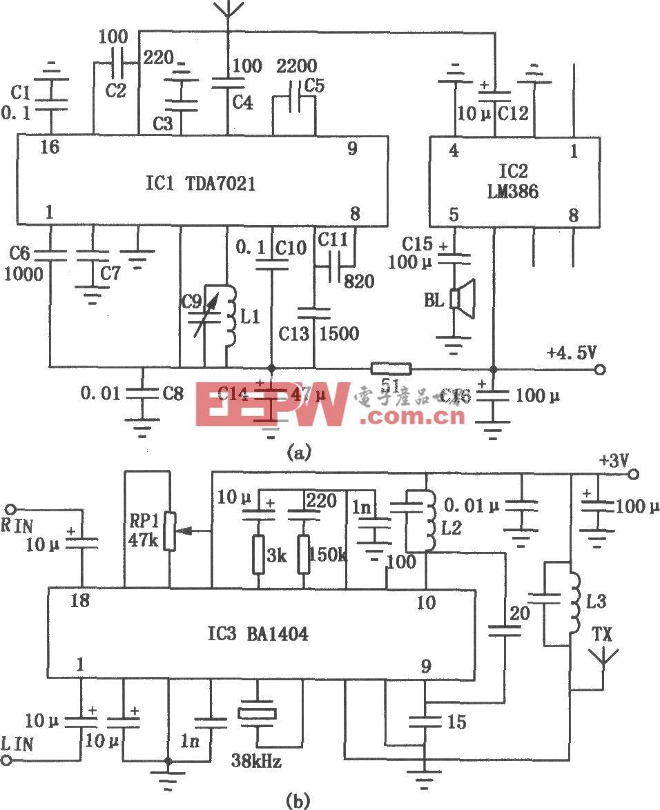 BA1404、TDA7021组成的免调试调频收发电路