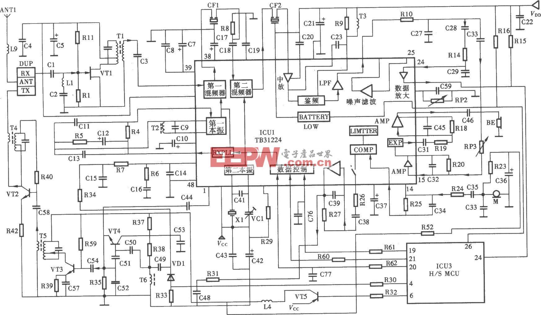 天时达HW838(4)P/TSD-LCD型无绳电话手机射频电路