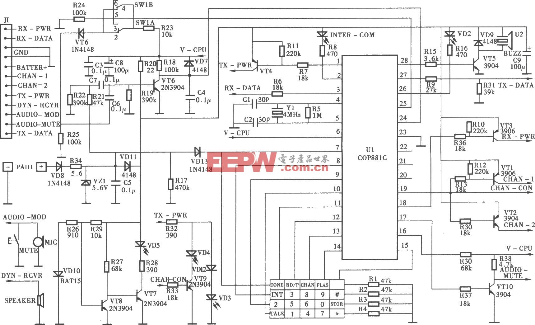 TCLHW868P/TSD型无绳电话机手机微电脑控制电路