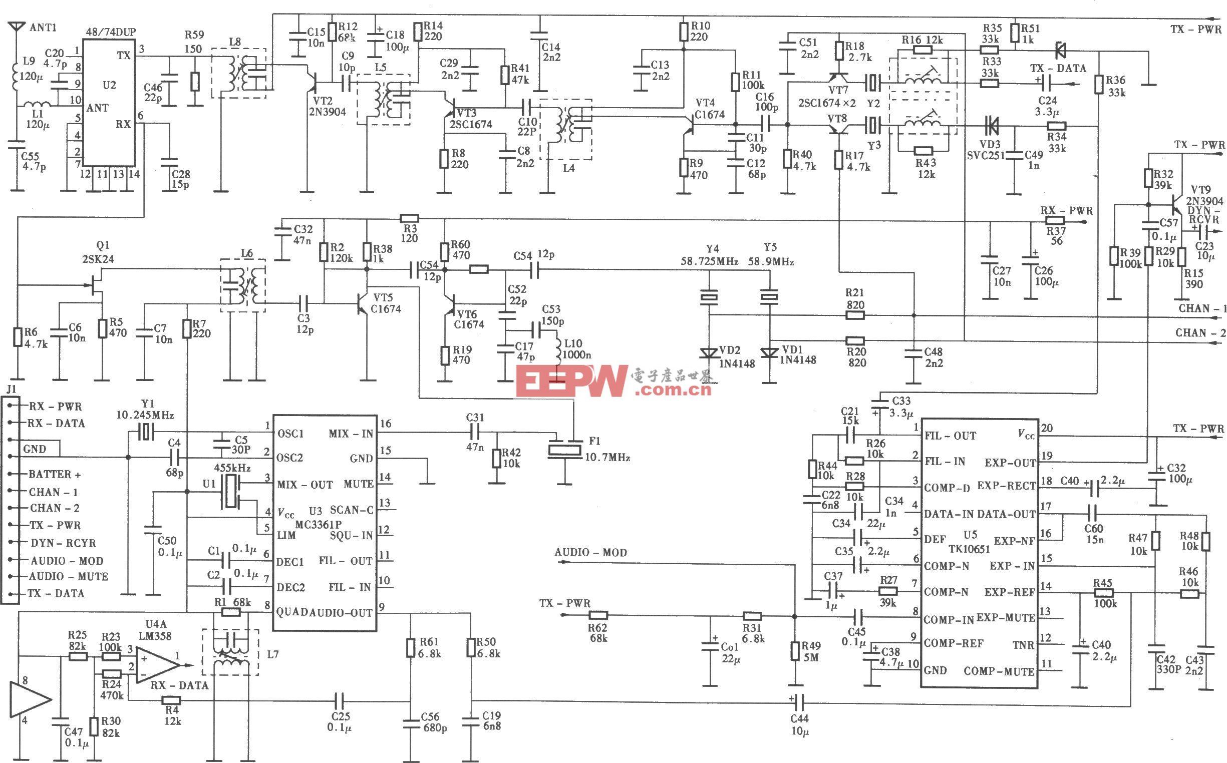 TCLHW868P/TSD型无绳电话机手机射频电路