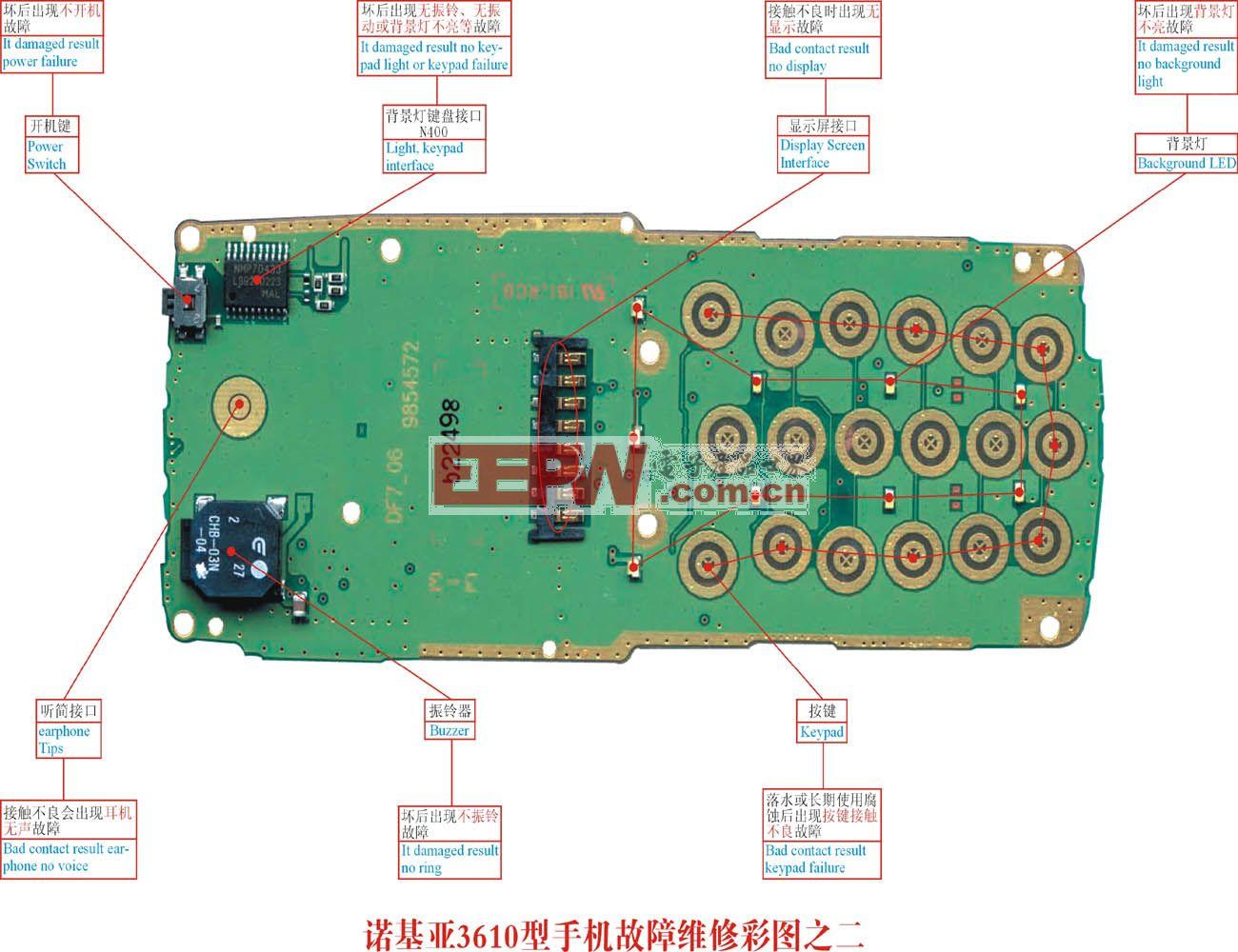 诺基亚 3610 手机故障维修实物彩图(2)