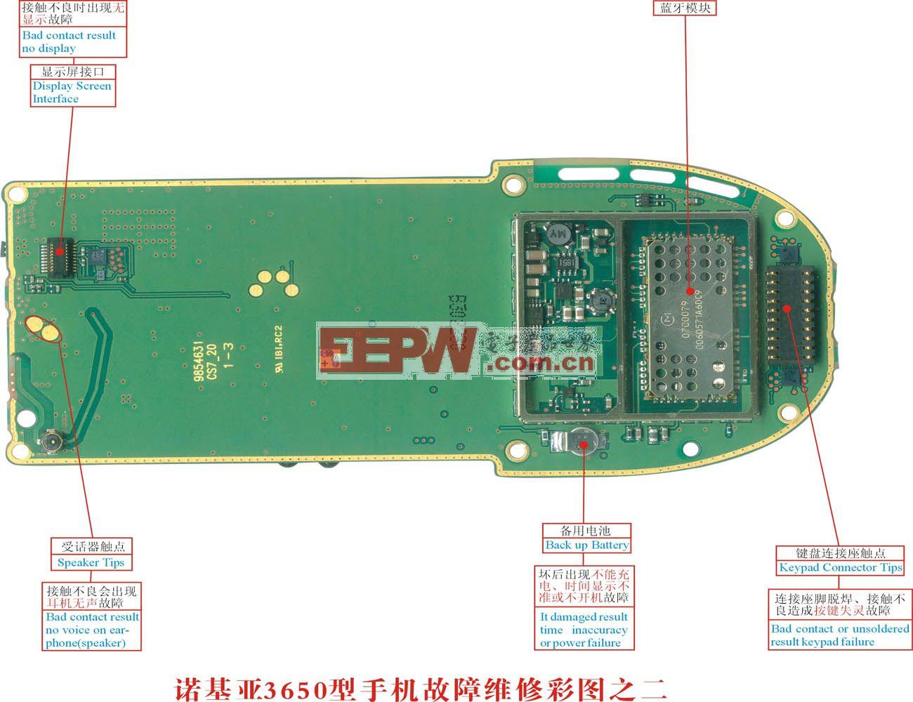 诺基亚3650手机故障维修实物彩图(2)
