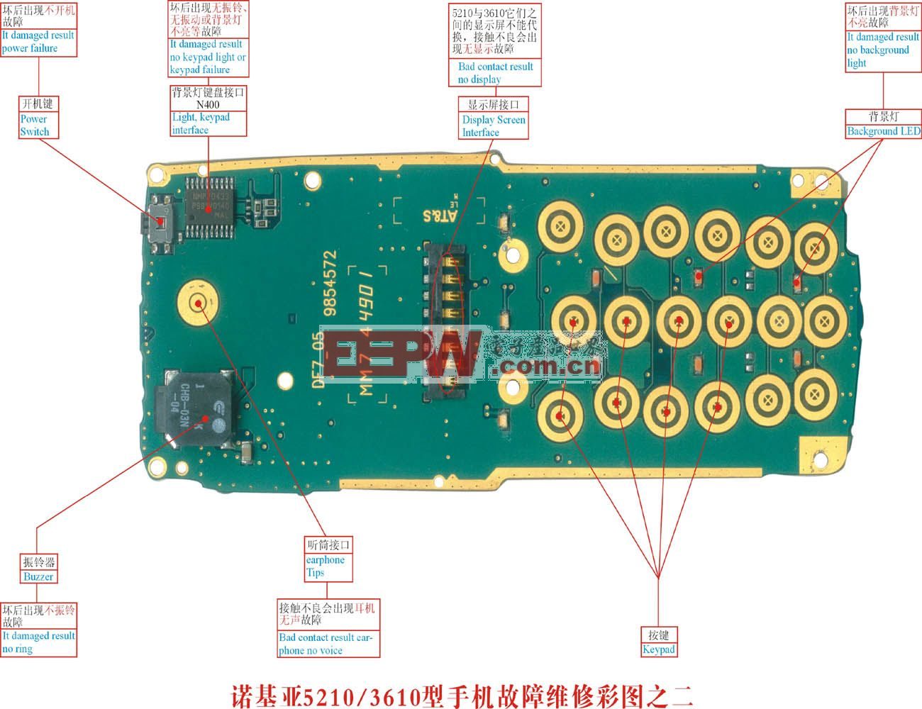 诺基亚5210 手机故障维修实物彩图(2)