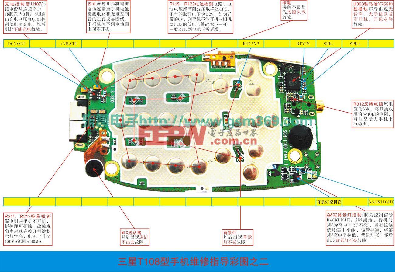 三星T100/T108手机维修实物图(一)