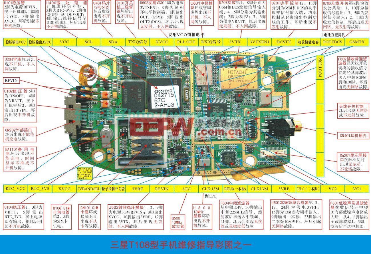 三星T100/T108手机维修实物图(二)