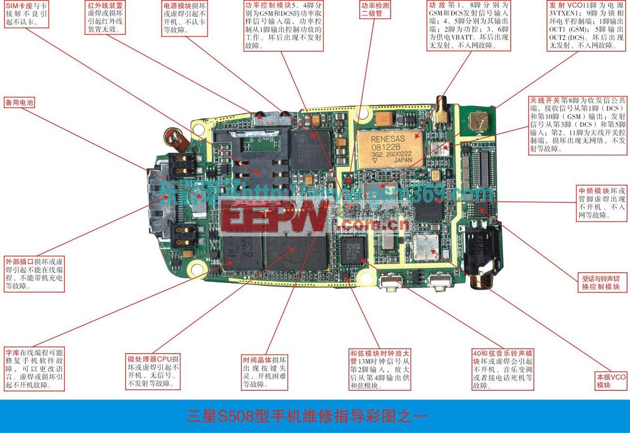 三星s500/s508手机维修实物图(一)