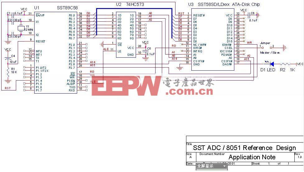 使用SST89C58控制单片电子硬盘的硬件电路