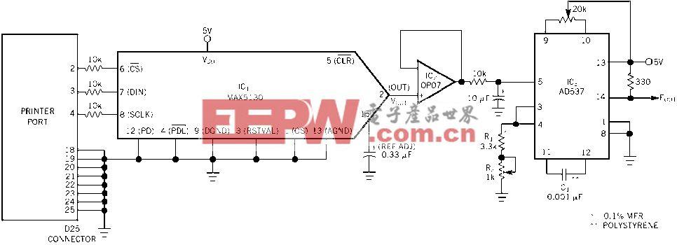 用打印机端口做可编程频率发生器电路