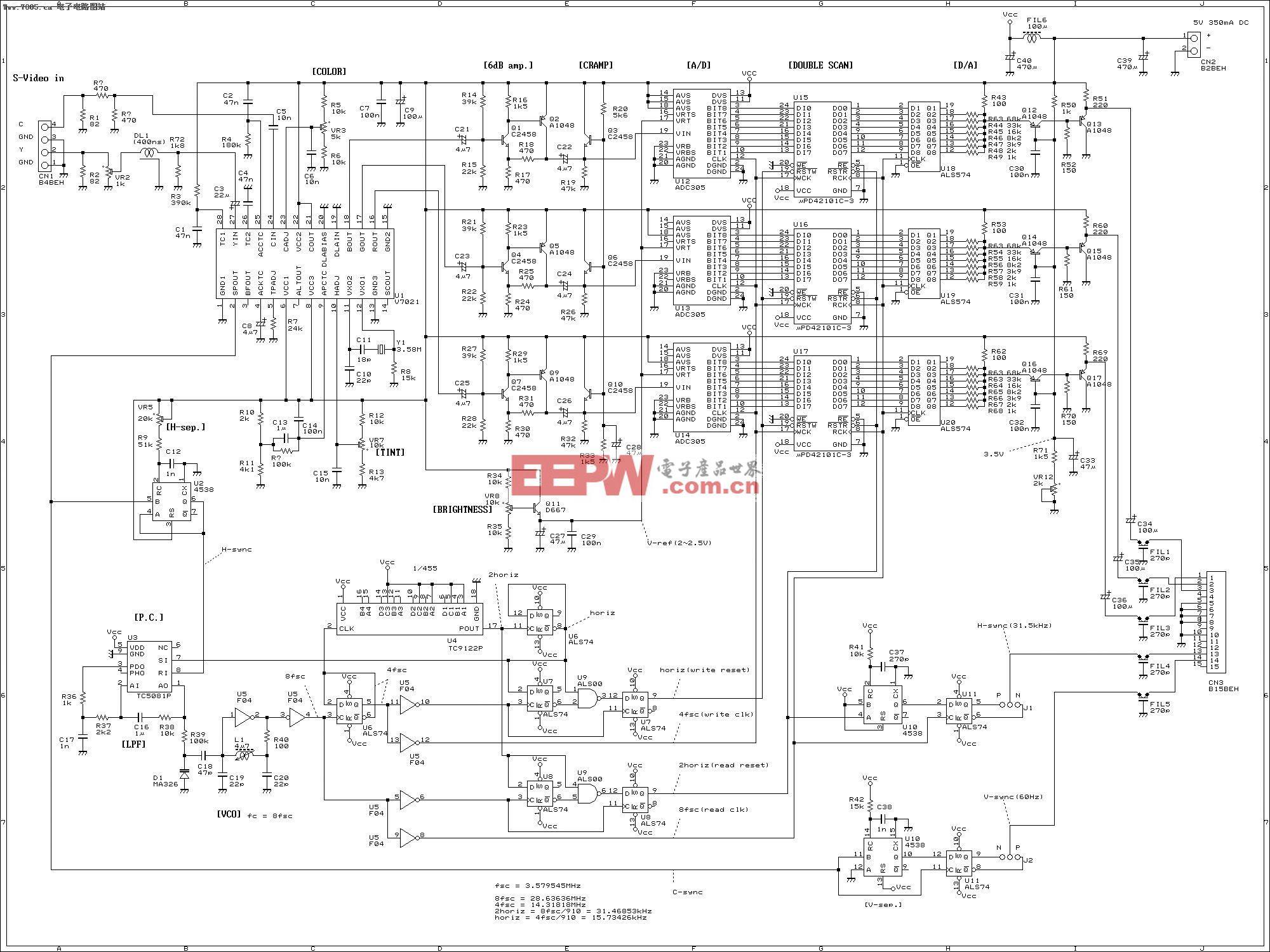 TV信号转VGA信号电路图