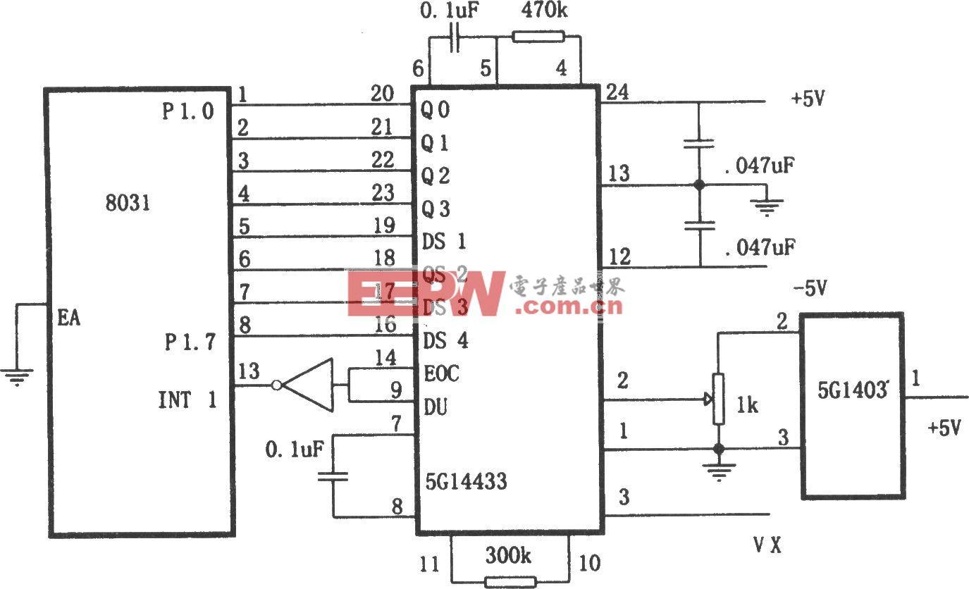 A/D转换器5G14433与微处理机的接口电路