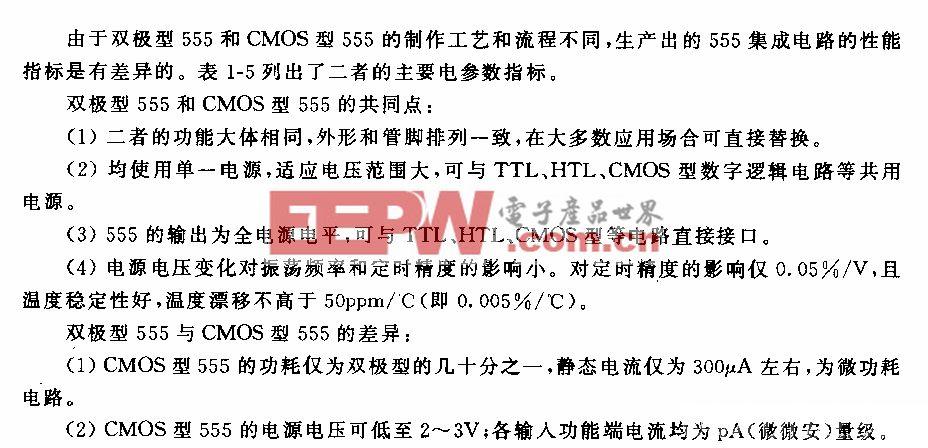 双极型和CMOS型555的性能比较