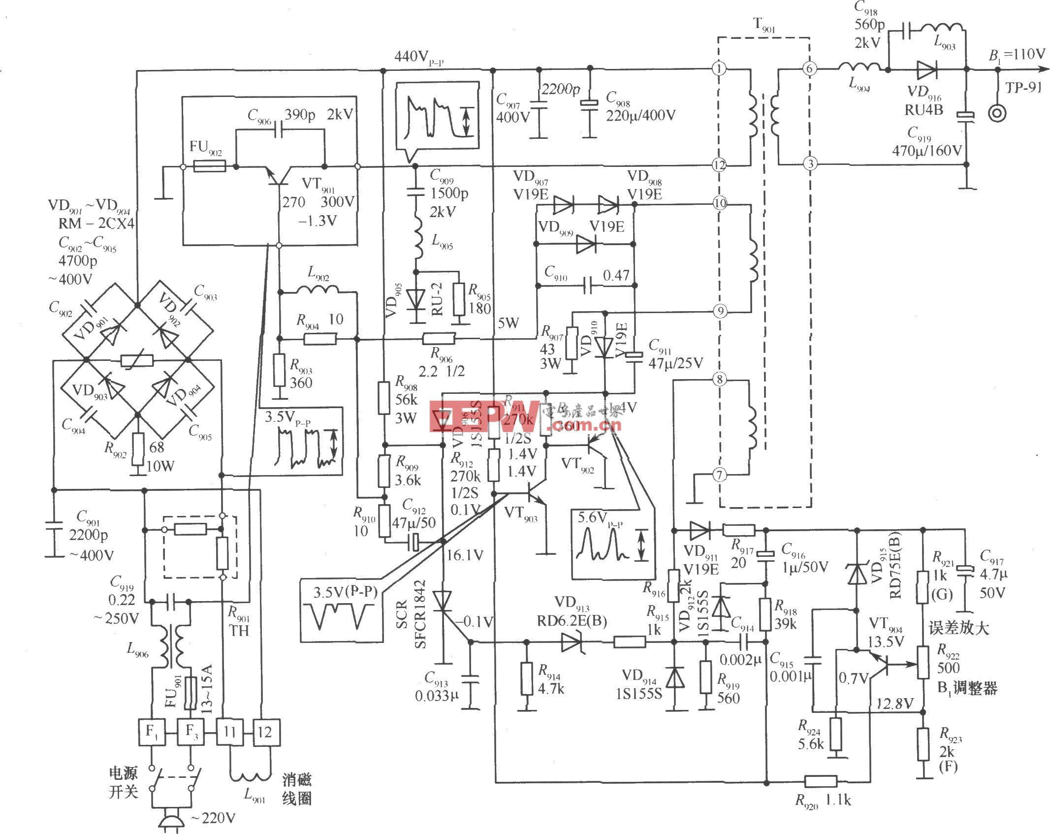 调宽、调频混合式开关稳压电源之二