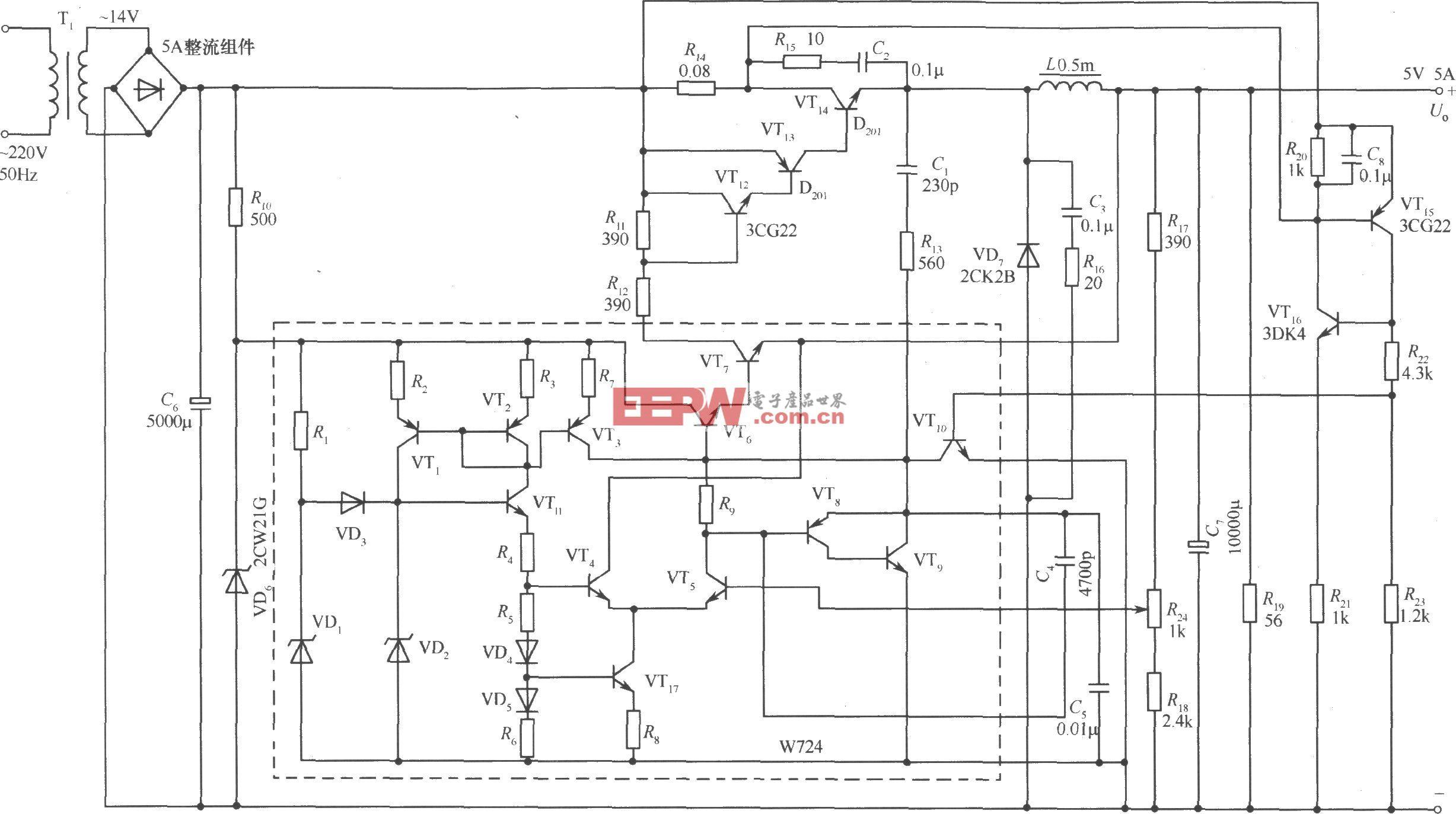 調寬、調頻混合式開關穩壓電源之一
