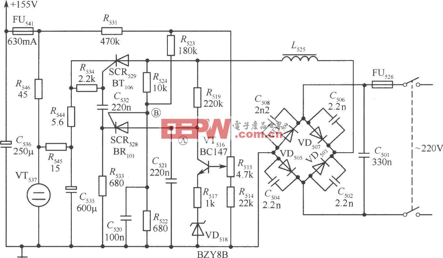 用可控硅组成的不隔离开关稳压电源电路