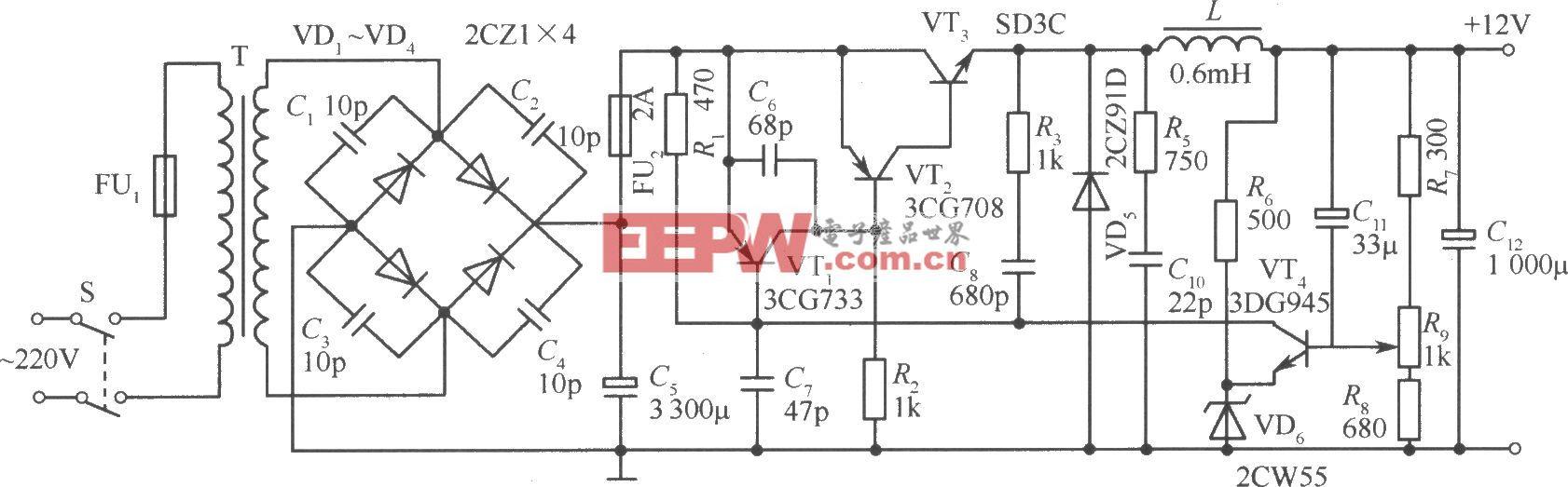 晶体管开关稳压电源电路