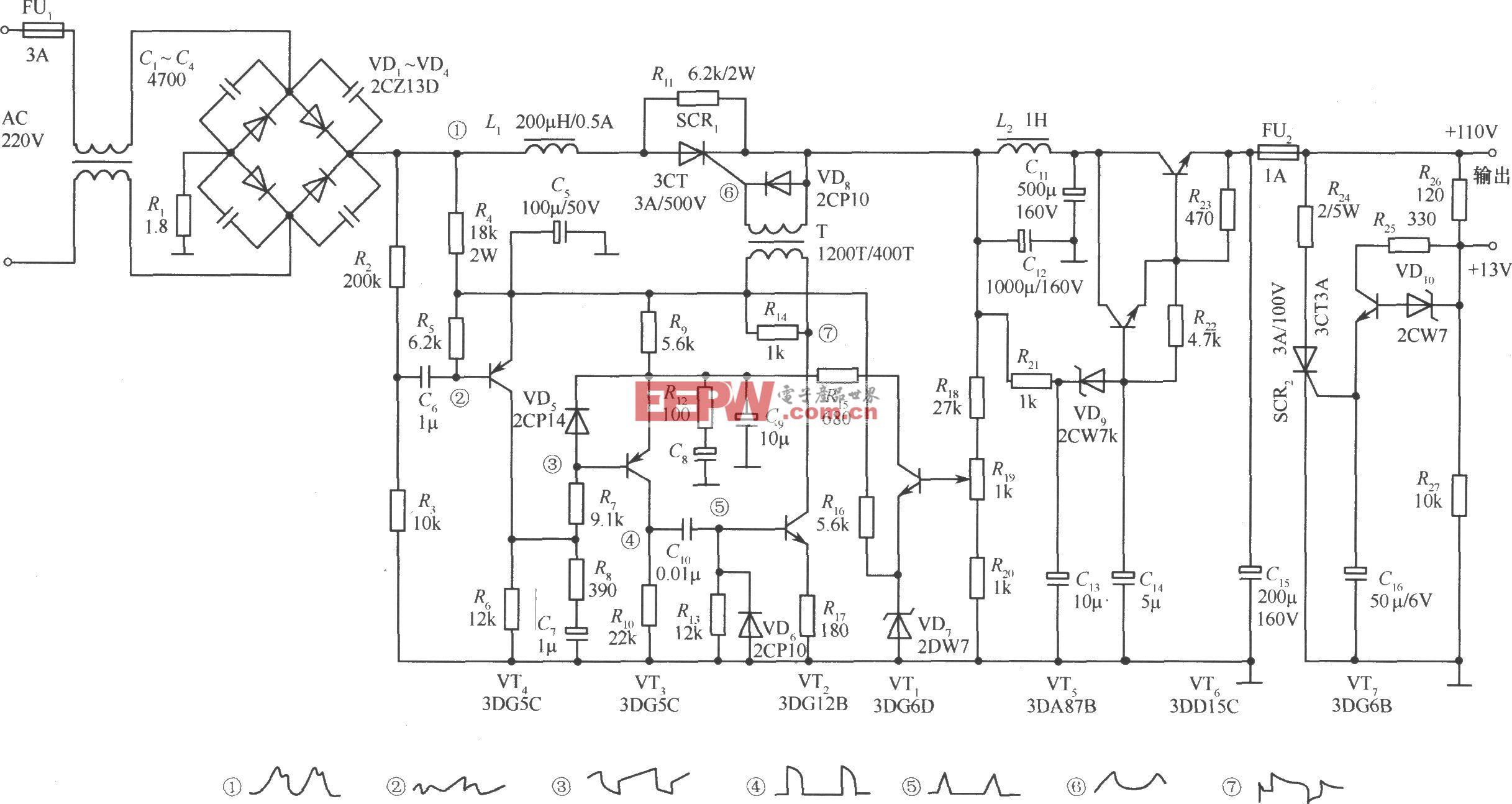 可控硅纹波触发式开关稳压电源实用电路