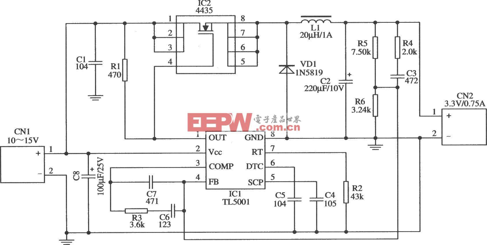 TL5001构成输入5V、输出3.3V/0.75A的开关稳压器应用电路