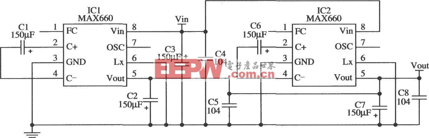 MAX660构成减小输出电阻的应用电路
