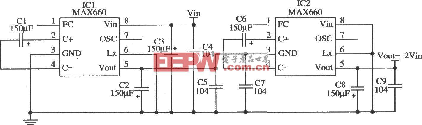 MAX660構成能夠輸出更大負壓的應用電路