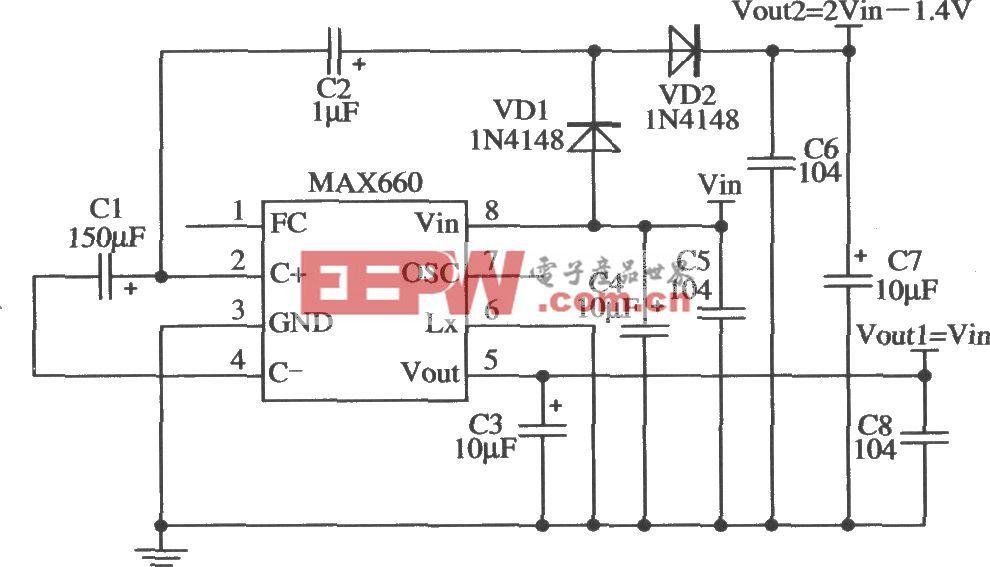 MAX660構成輸出兩種電壓的應用電路