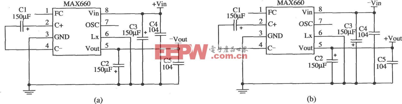 MAX660構成輸入與輸出電壓反轉的應用電路