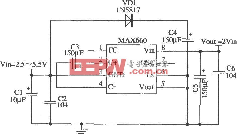 MAX660構成輸出二倍壓的應用電路