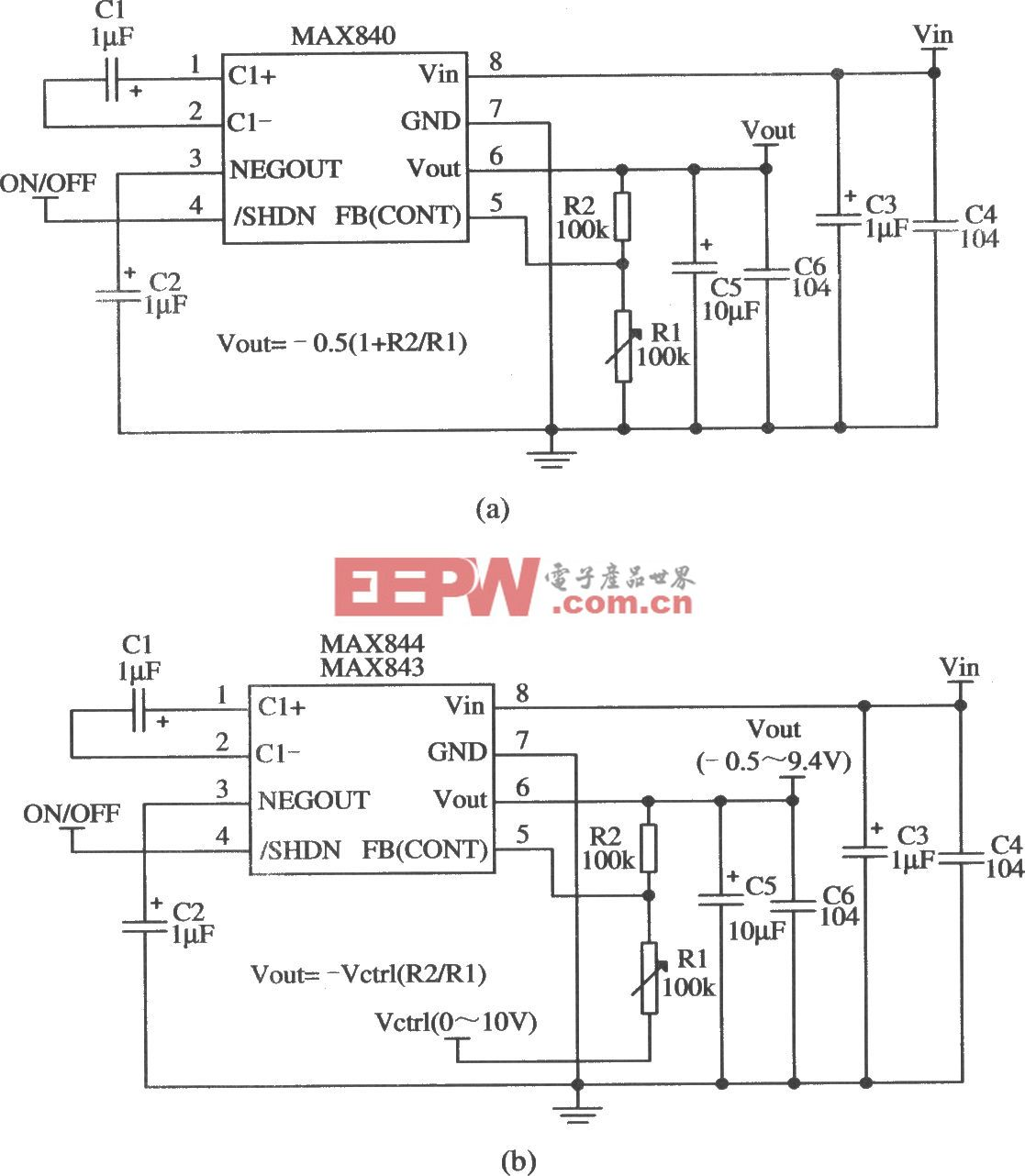 MAX840/MAX843构成输出电压连续可调的应用电路