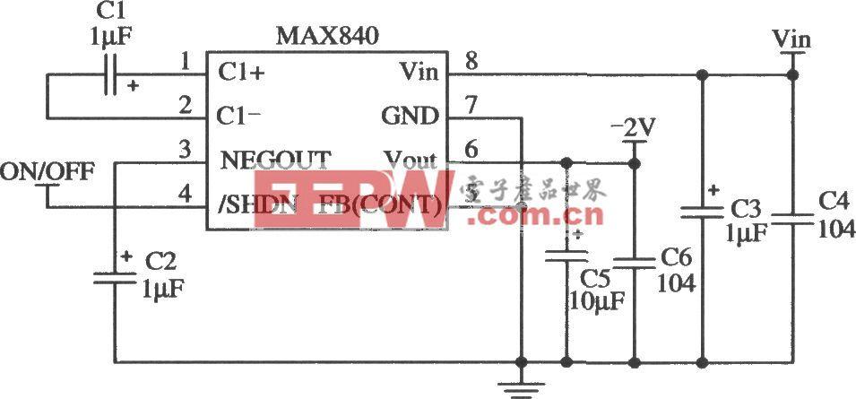 开关集成稳压器MAX840/MAX843/MAX844的典型应用电路