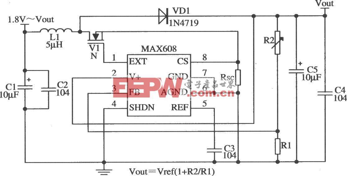 MAX608构成可调式输出的应用电路