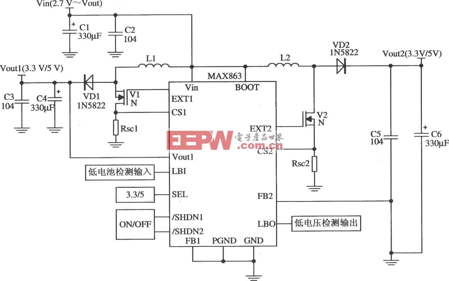 MAX863构成的两路固定3.3V/5V输出的应用电路