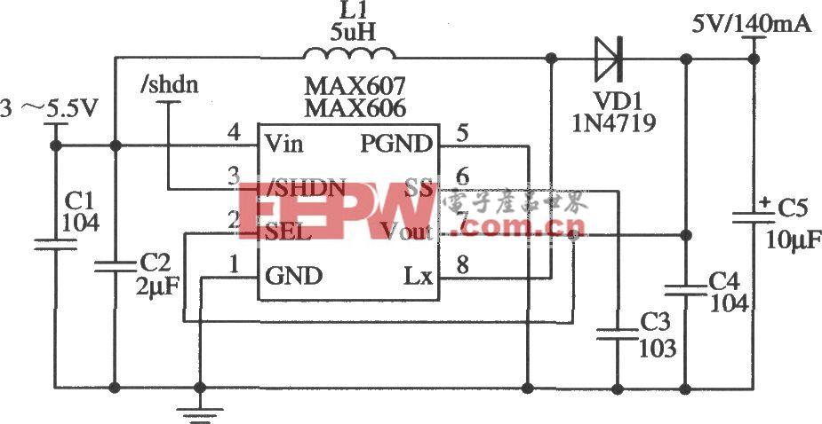MAX606/MAX607构成5V输出的应用电路