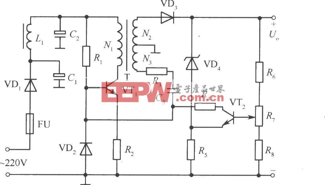 不隔離開關穩壓電源簡化原理圖