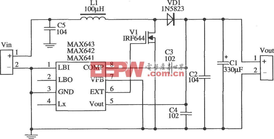 MAX641/MAX642构成的输出电流较大的升压型应用电路