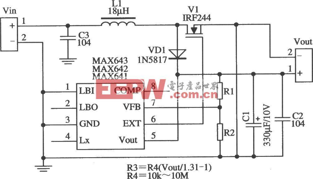 MAX641/MAX642构成的输出电压可调的应用电路
