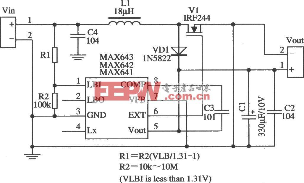MAX641/MAX642構成的外加功率開關管的典型應用電路